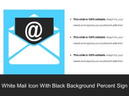 White Mail Icon With Black Background Percent Sign