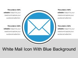 White Mail Icon With Blue Background
