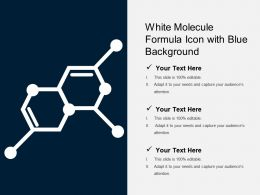 White Molecule Formula Icon With Blue Background