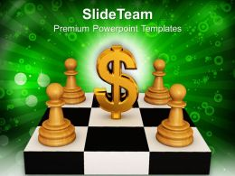 White Pawns Around Dollar Sign PowerPoint Templates PPT Themes And Graphics 0213