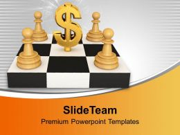 White Pawns Around Dollar Stock Photo PowerPoint Templates PPT Themes And Graphics 0213
