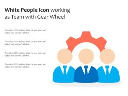 White People Icon Working As Team With Gear Wheel