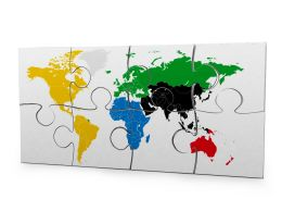White Puzzle Made By World Map Stock Photo