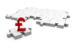 White Puzzle Pieces With Pound On Single Puzzle Showing Finance Stock Photo