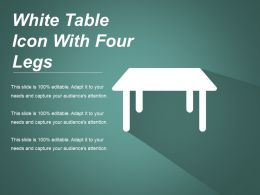 White Table Icon With Four Legs