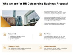 Who We Are For HR Outsourcing Business Proposal Ppt Powerpoint Presentation Outline