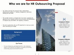 Who We Are For HR Outsourcing Proposal Ppt Powerpoint Presentation Infographic Template