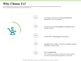 Why Choose Us Investment Plans Ppt Icon Design Ideas