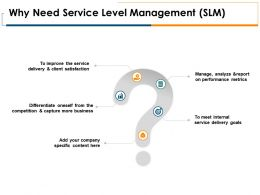 Why Need Service Level Management SLM Goal Arrows Ppt Powerpoint Presentation Portfolio Layout