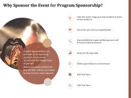 Why Sponsor The Event For Program Sponsorship Ppt Powerpoint Presentation Icons