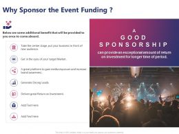 Why Sponsor The Event Funding Ppt Powerpoint Presentation Summary Background