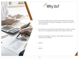 Why Us Content Marketing Ppt Powerpoint Presentation Icon Backgrounds