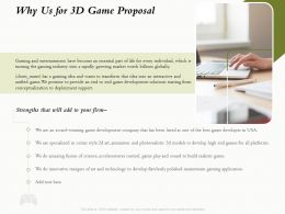 Why Us For 3D Game Proposal Ppt Powerpoint Presentation Show Icons