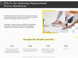 Why Us For Analyzing Organizational Process Bottlenecks Ppt Icon