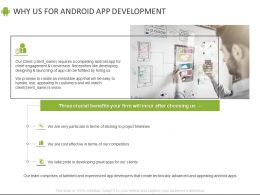 Why Us For Android App Development Ppt Powerpoint Presentation File Inspiration