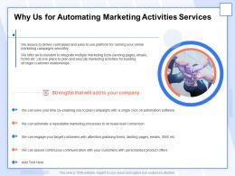 Why Us For Automating Marketing Activities Services Ppt Layouts