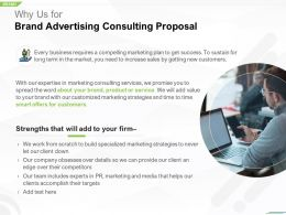 Why Us For Brand Advertising Consulting Proposal Ppt Powerpoint Graphic Tips
