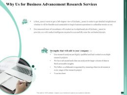 Why Us For Business Advancement Research Services Ppt File Brochure