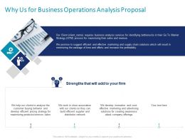 Why Us For Business Operations Analysis Proposal Ppt Powerpoint Presentation Slides