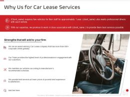 Why Us For Car Lease Services Ppt Powerpoint Presentation Professional