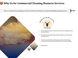 Why Us For Commercial Cleaning Business Services Ppt Model