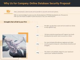 Why Us For Company Online Database Security Proposal Ppt Ideas