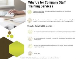 Why Us For Company Staff Training Services Ppt Powerpoint Presentation Icon Images