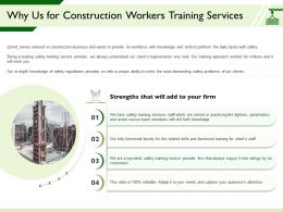 Why Us For Construction Workers Training Services Functional Faculty Ppt Powerpoint Presentation Files
