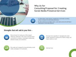 Why Us For Consulting Proposal For Creating Social Media Presence Services Ppt Template