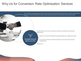 Why Us For Conversion Rate Optimization Services Ppt Powerpoint Presentation Show Templates