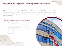 Why Us For Corporate Cleaning Service Contract Ppt Powerpoint Presentation File Gridlines