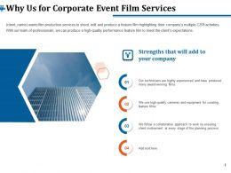 Why Us For Corporate Event Film Services Ppt Ideas