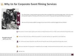 Why Us For Corporate Event Filming Services Ppt Model