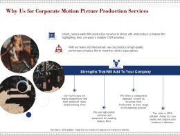 Why Us For Corporate Motion Picture Production Services Ppt Powerpoint Presentation Template
