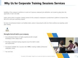 Why Us For Corporate Training Sessions Services Ppt File Topics