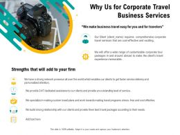Why Us For Corporate Travel Business Services Relationship Ppt Template