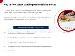 Why Us For Custom Landing Page Design Services Ppt File Example Introduction
