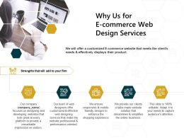 Why Us For E Commerce Web Design Services Streamlines Ppt Powerpoint Presentation Background Images