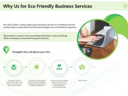 Why Us For Eco Friendly Business Services Ppt Powerpoint Presentation Icon Pictures