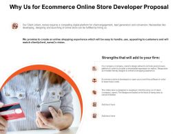 Why Us For Ecommerce Online Store Developer Proposal Ppt Powerpoint Presentation Icon Layout