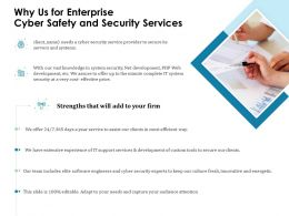 Why Us For Enterprise Cyber Safety And Security Services Ppt Template