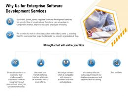 Why Us For Enterprise Software Development Services Operational Efficiency Ppt Powerpoint Presentation Show
