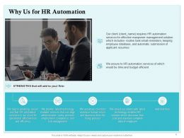 Why Us For HR Automation Ppt Powerpoint Presentation Summary Graphics Download