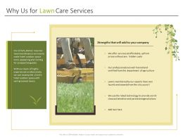 Why Us For Lawn Care Services Ppt Powerpoint Presentation Show Vector