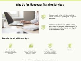 Why Us For Manpower Training Services Ppt Powerpoint Presentation Professional Graphics Design