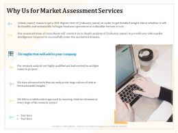 Why Us For Market Assessment Services Ppt Powerpoint Presentation Icon Clipart