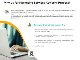 Why Us For Marketing Services Advisory Proposal Ppt File Format Ideas