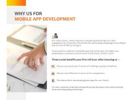 Why Us For Mobile App Development Ppt Powerpoint Presentation Gallery Microsoft