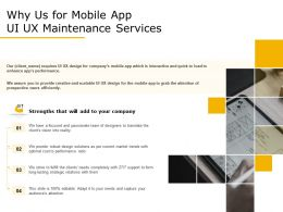 Why Us For Mobile App UI UX Maintenance Services Ppt Demonstration