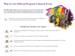 Why Us For Official Proposal Cultural Event Ppt Powerpoint Presentation Gallery Layouts